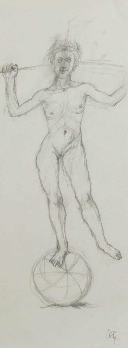 UNTITLED - NUDE FEMALE BALANCING ON BALL, Pencil on Paper, 14 1/2 x 5 1/2""
