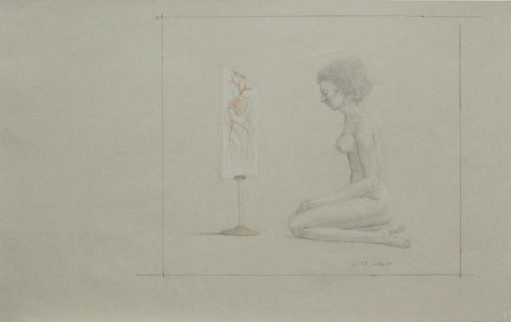 UNTITLED - NUDE WOMAN STARING AT PAINTING OF HEART ON EASEL, 21-23 July 2004, Pencil heightened with White Chalk and Brown-Red Wash on Tan Paper, 12 x 19""