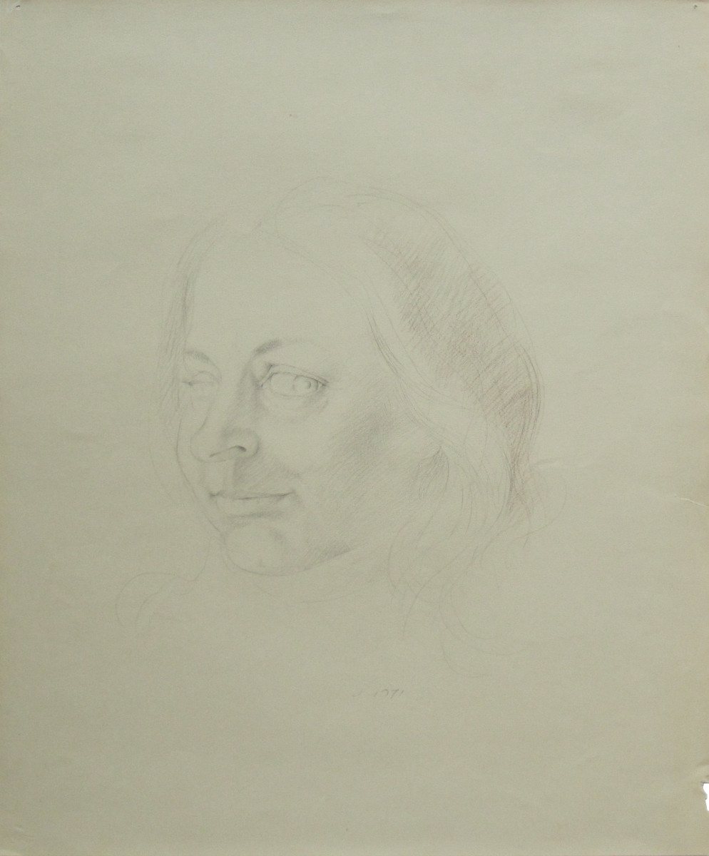 UNTITLED - PORTRAIT OF A WOMAN, 1971, Pencil and Brown Colored Pencil on Canson Paper, 24 x 19 1/4""