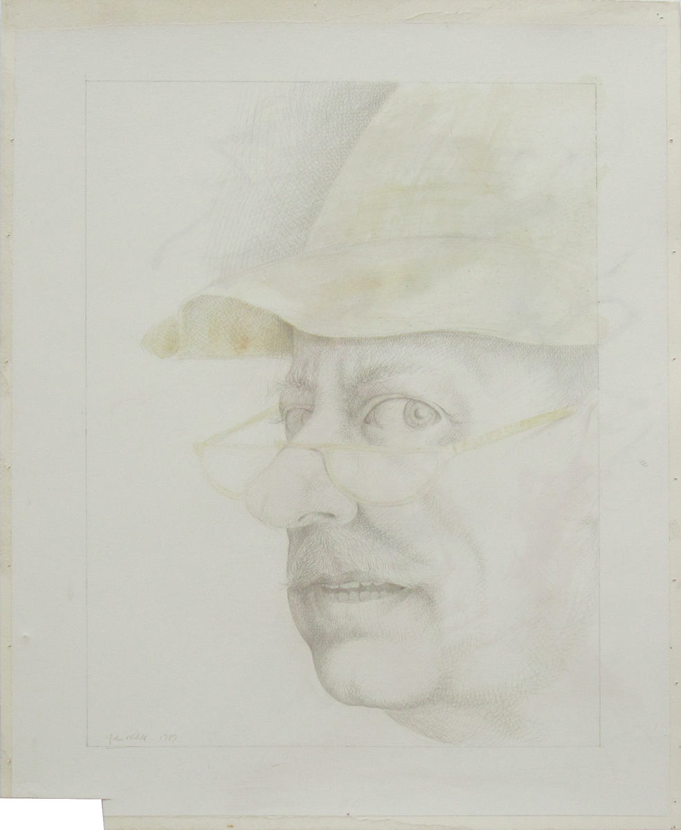 UNTITLED - PORTRAIT IN HAT AND GLASSES, 1989, Pencil and Light Wash on Gessoed Strathmore, 20 x 16""