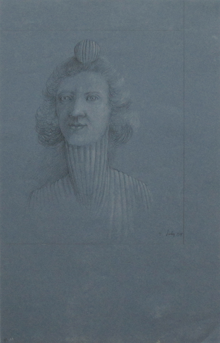 UNTITLED - PORTRAIT OF A WOMAN BALANCING A BALL ON HER HEAD, 4 July 2004, Charcoal heightened with White Chalk on Blue Paper, 19 x 12""