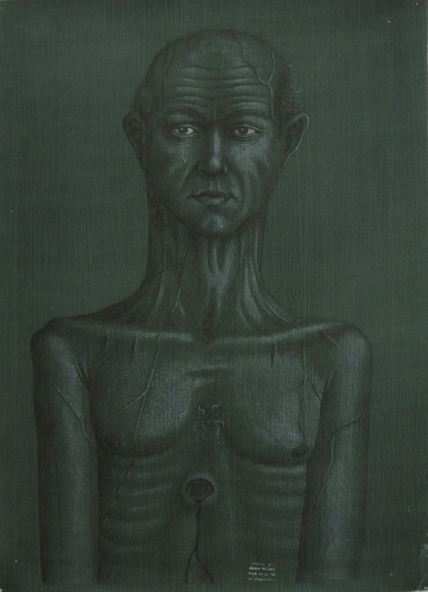 UNTITLED - PORTRAIT WITH HOLE IN CHEST, March 14-16, 1942, Ink Heightened with White Pencil on Paper Coated in Green Paint, 22 1/4 x 15 3/4""