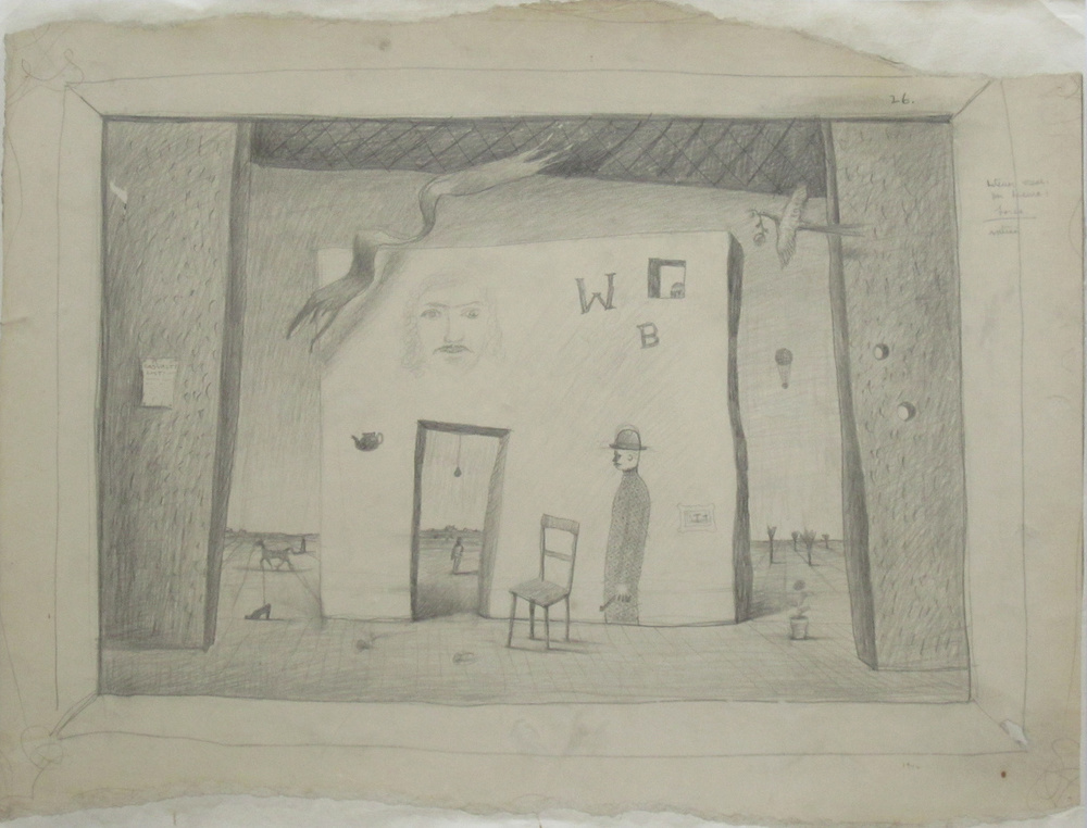 UNTITLED STUDY - INTERIOR SCENE FOR DRAMA LORCA, 1942, Pencil on Paper Mounted on Paper, 15 3/4 x 20 1/4""