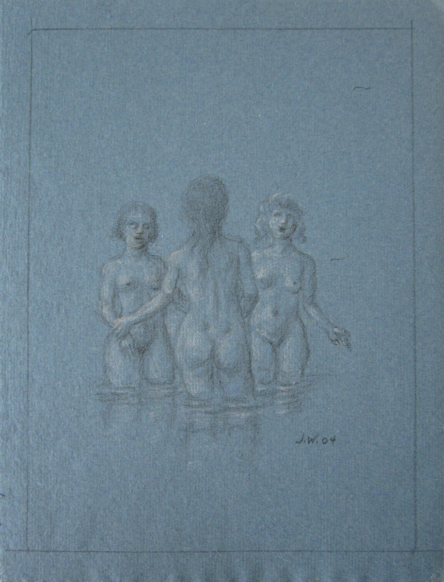 UNTITLED - THREE NUDE WOMEN IN WATER, 2004, Charcoal Heightened with White Chalk on Blue Paper, 11 x 8""
