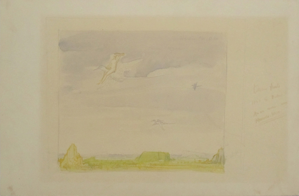 UNTITLED - WOMEN FLYING ON BIRDS, 1951, Watercolor on Illustration Board, 9 1/2 x 14 1/2""