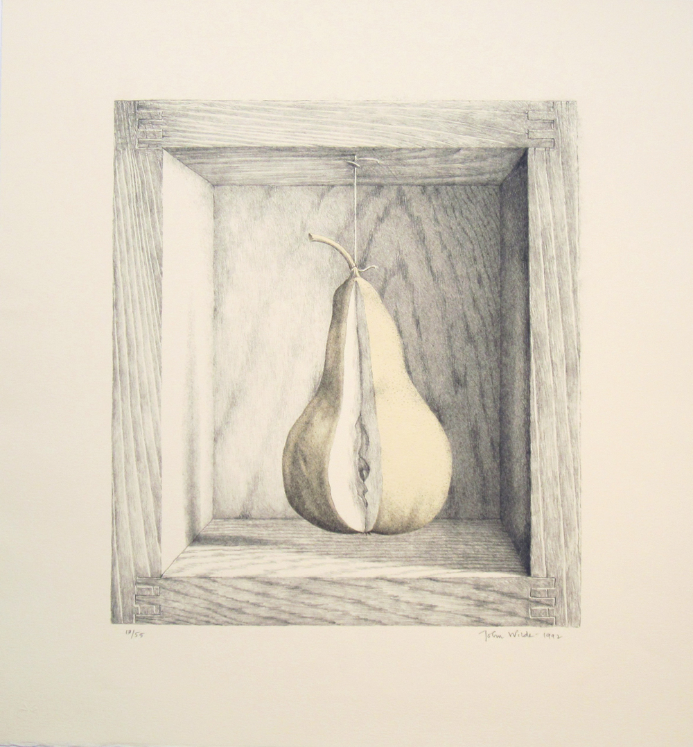 "A BOXED PEAR, 1992, lithograph, 20 x 18"", Ed. 1/55, 2/55, 13/55, and 14/55"