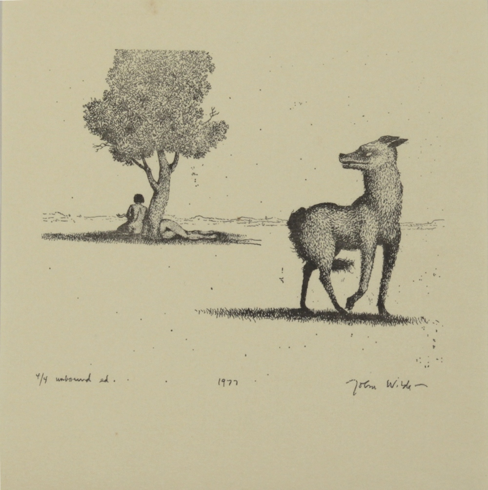 "DOG LOOKING BACK AT JANE AND JOAN , 1977, Color Etching on Paper, 8 x 8"", Ed. 4/4"