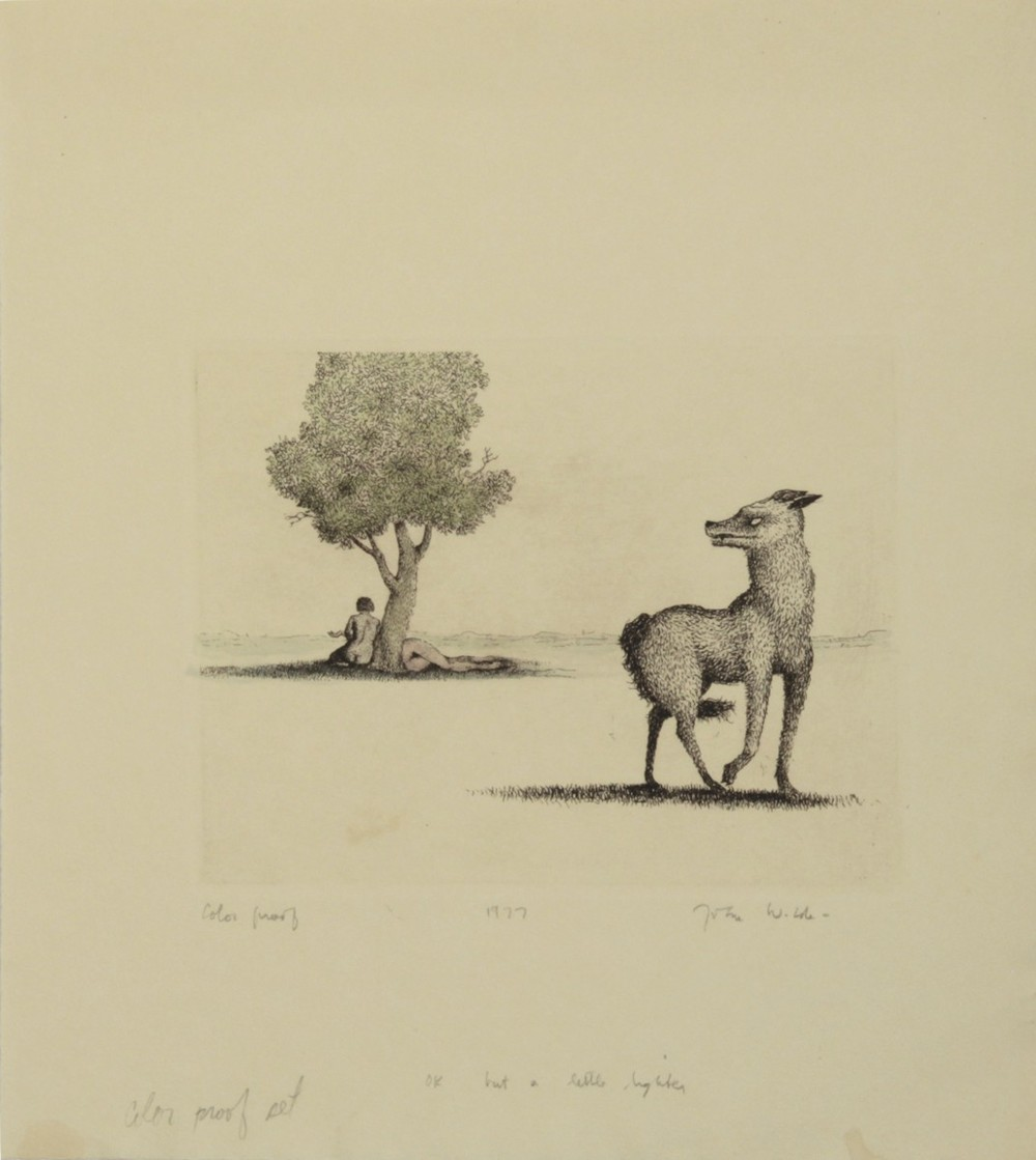 "DOG LOOKING BACK AT JANE AND JOAN , 1977, Color Etching on Paper, 11 1/4 x 10"", color proof"