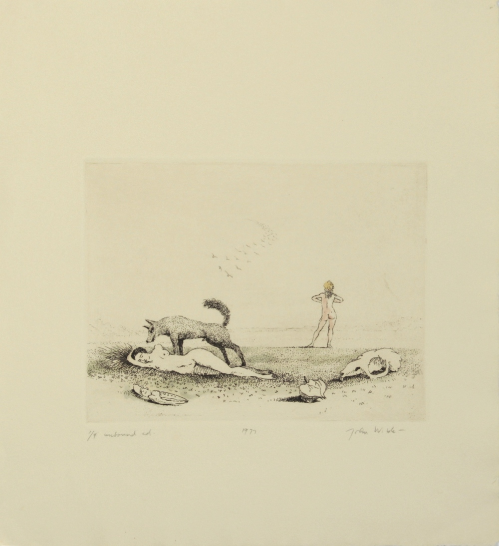 "DOG STANDING OVER J AS J LOOKS INTO HORIZON, 1977, Color Etching on Paper, 11 1/4 x 10"", Ed. 1/4 unbound"