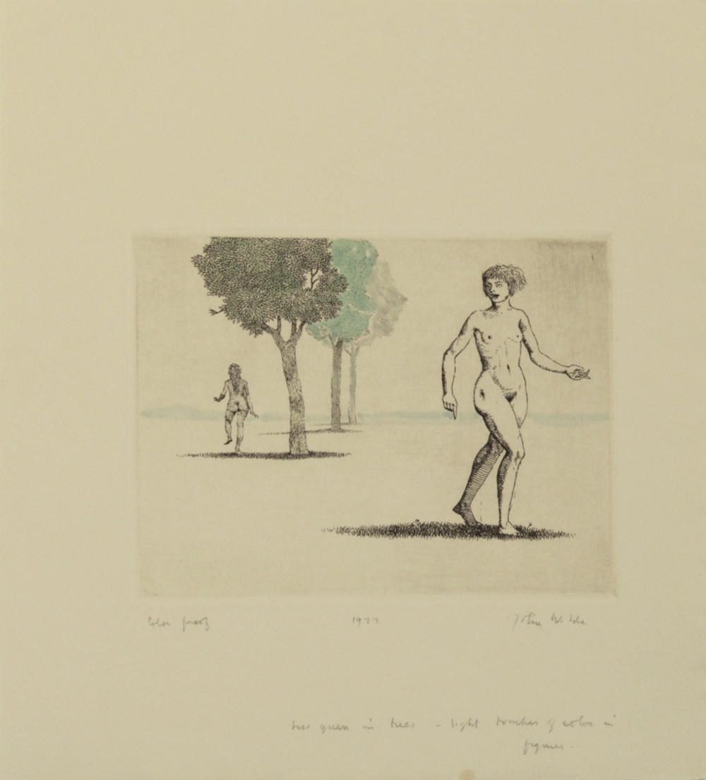 "JANE AND JOAN PARTING, 1977, Etching on Paper, 11 1/4 x 10"", color proof"