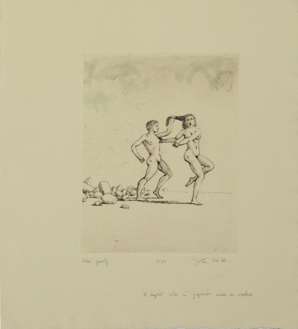 "JANE AND JOAN PULLING HAIR, 1977, Etching on Paper, 11 1/4 x 10"", color proof"