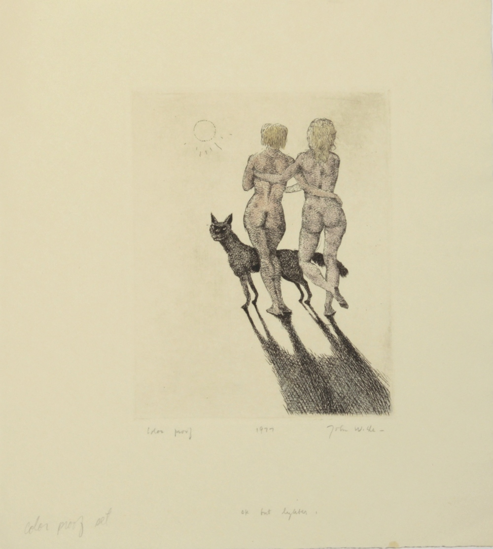 "JANE AND JOAN WALKING TOWARDS THE SUN WITH DOG, 1977, Etching on Paper, 11 1/4 x 10"", color proof"