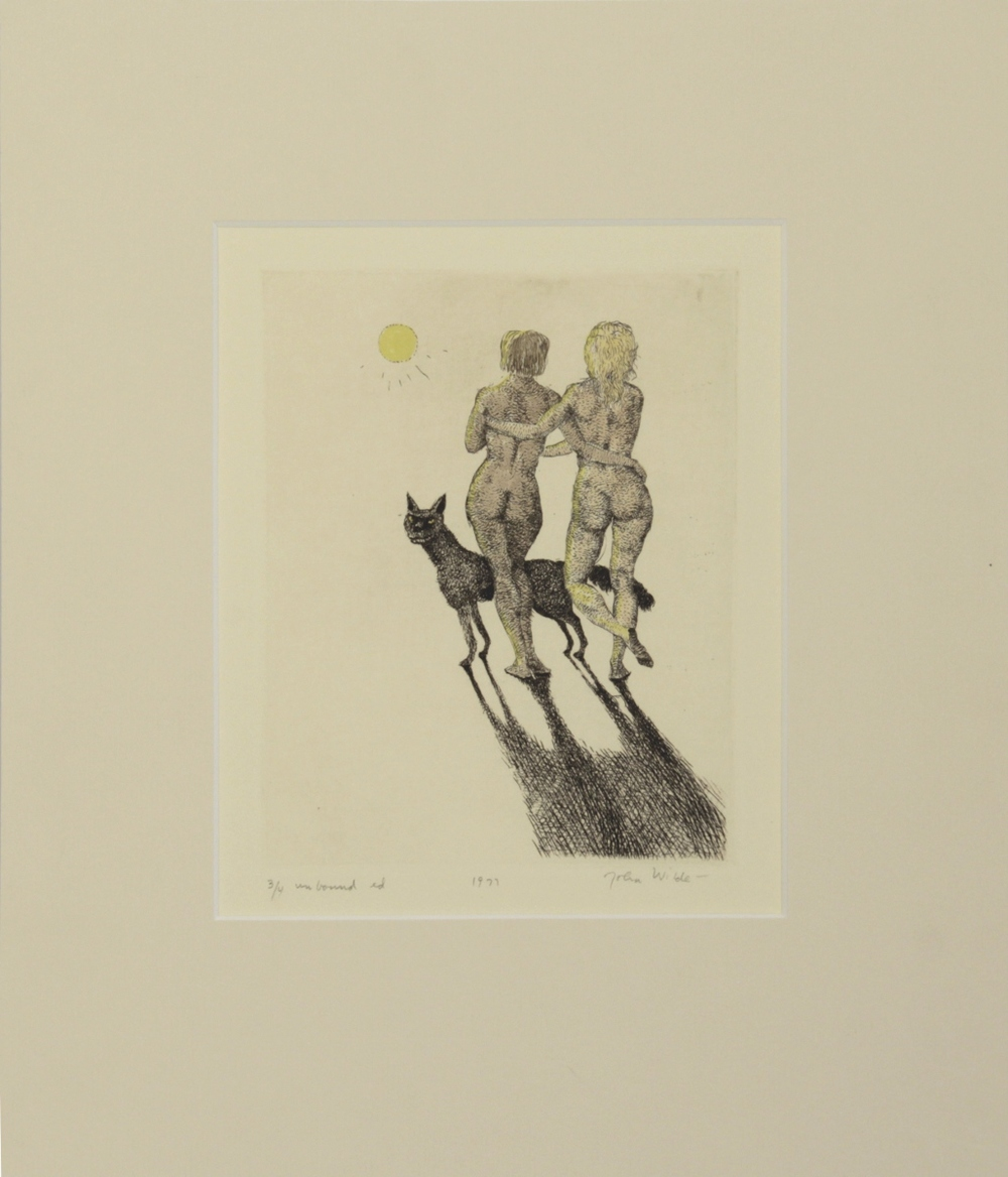 "JANE AND JOAN WALKING TOWARDS THE SUN WITH DOG, 1977, Etching on Paper, 11 1/4 x 10"", Ed. 3/4 unbound"