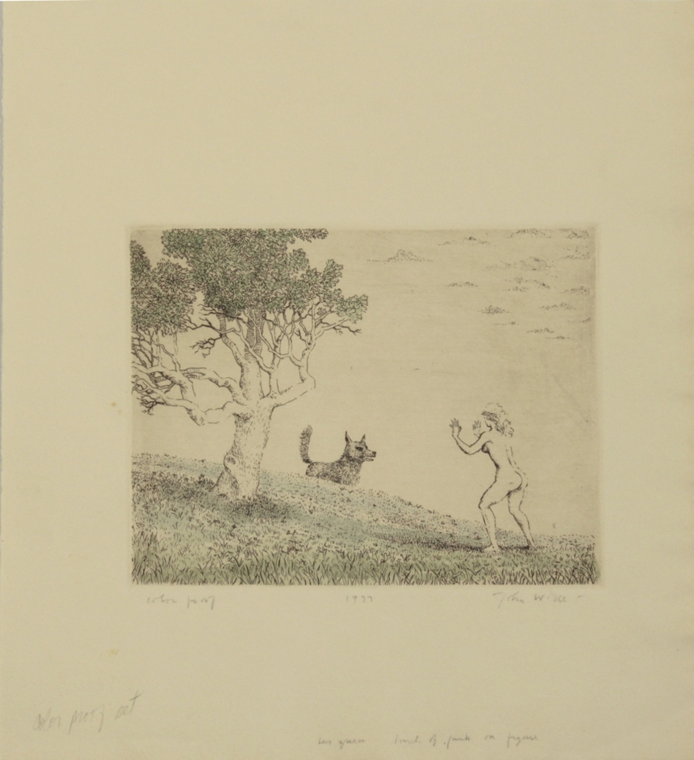 "J BACKING AWAY FROM DOG, 1977, Etching on Paper, 11 1/4 x 10"", color proof"