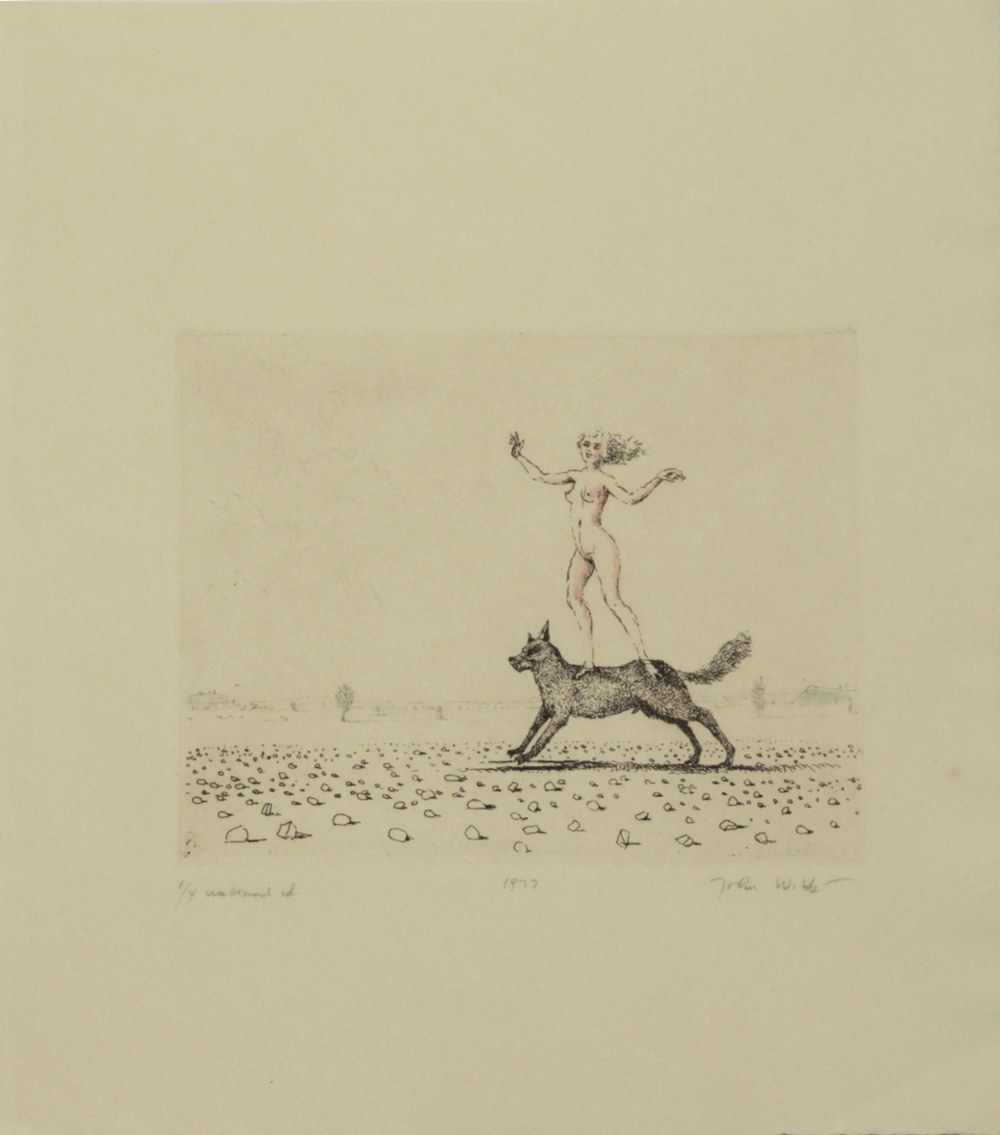 "J STANDING ON DOG, 1977, Etching on Paper, 11 1/4 x 10"", Ed. 1/4 unbound"