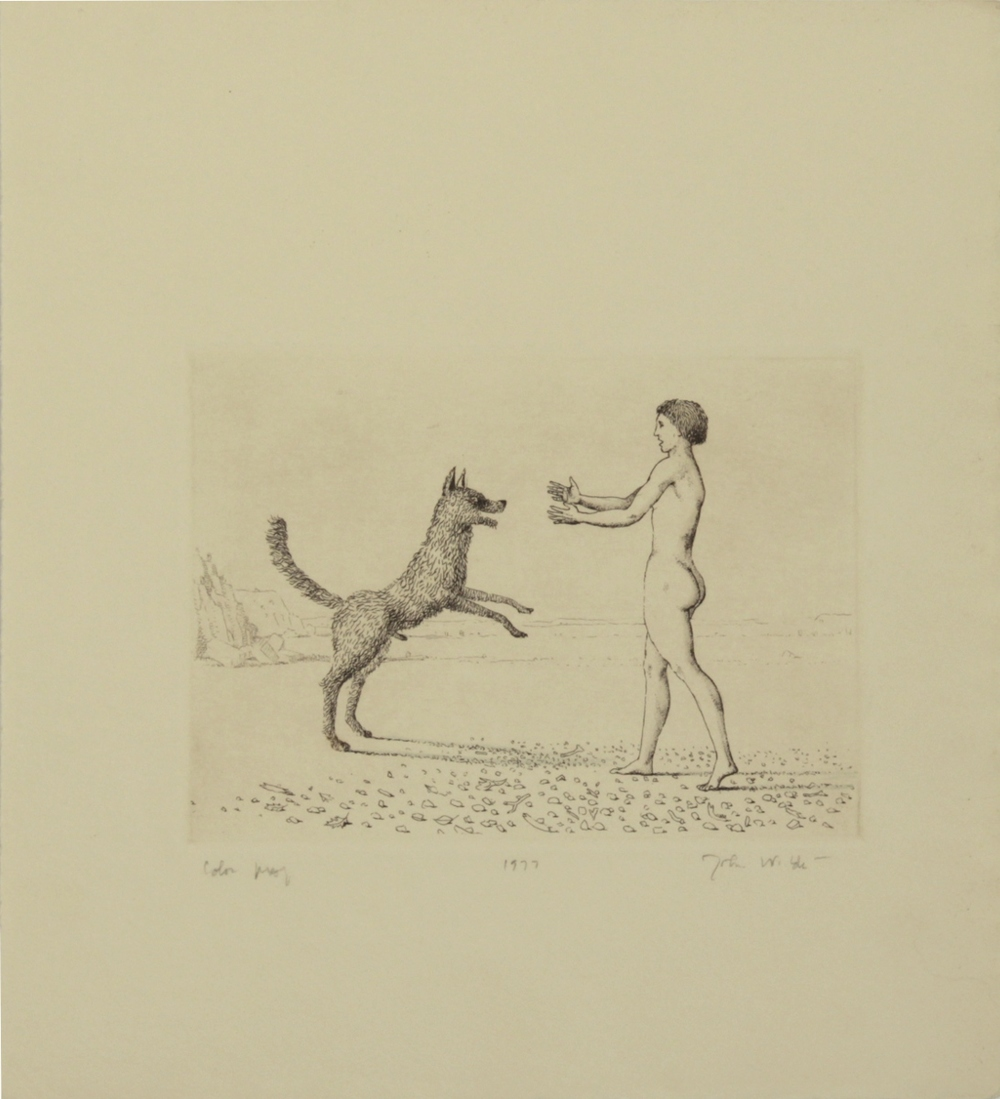 "J HOLDING ARMS OUT TO DOG, 1977, Etching on Paper, 11 1/4 x 10"", color proof"