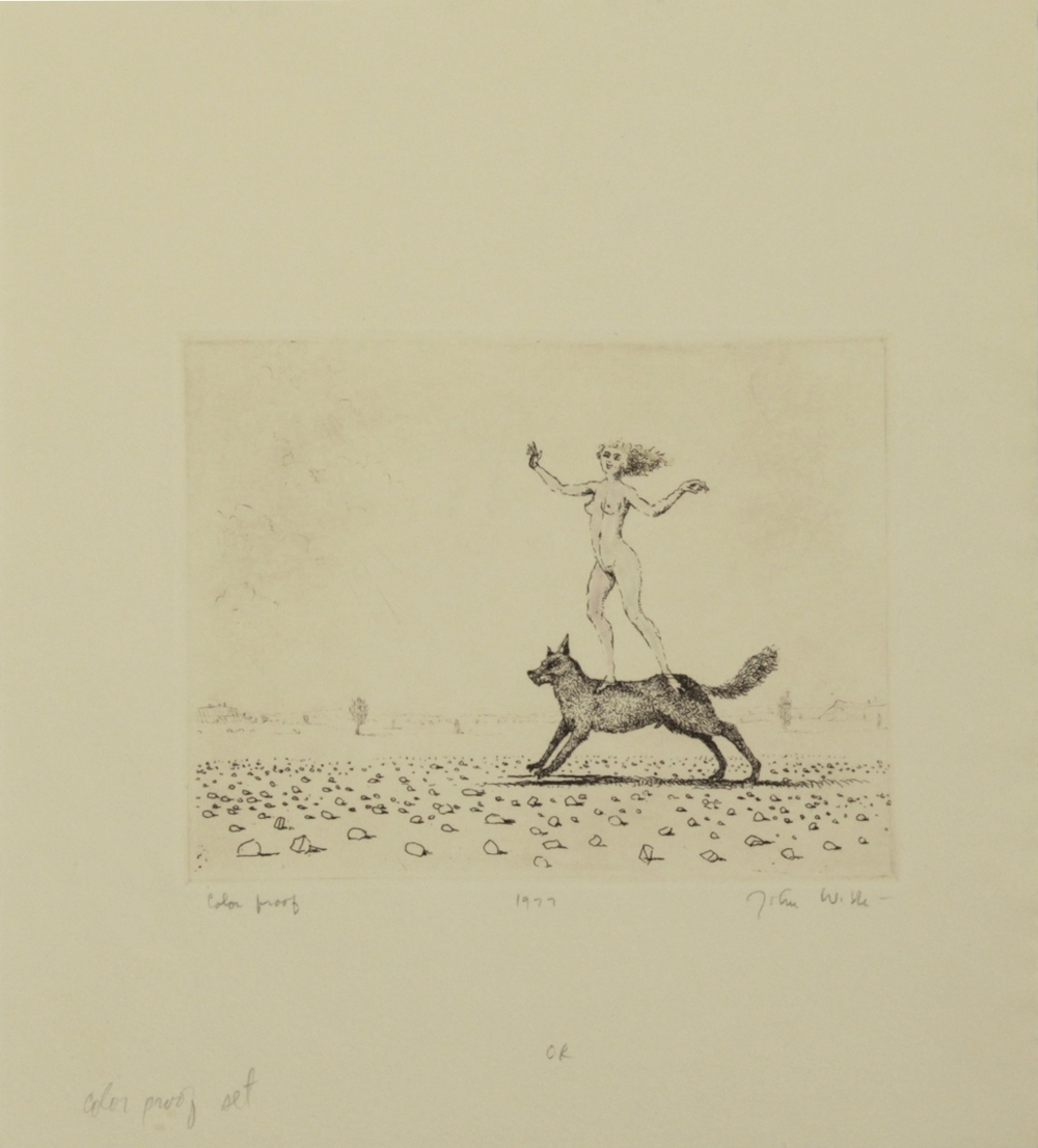 "J STANDING ON DOG, 1977, Etching on Paper, 11 1/4 x 10"", color proof"