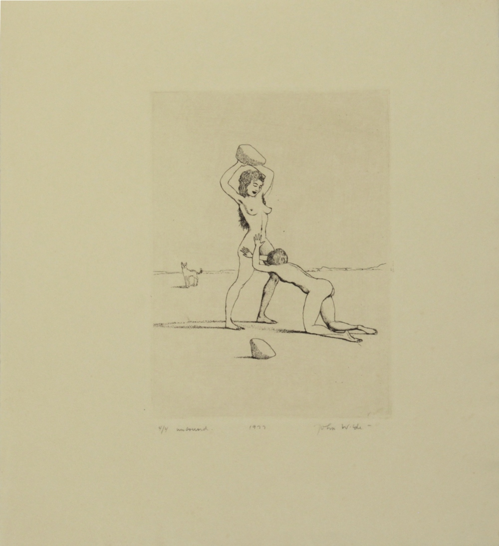 "J STANDING OVER J WITH A ROCK, 1977, Etching on Paper, 11 1/4 x 10"", Ed. 4/4 unbound"