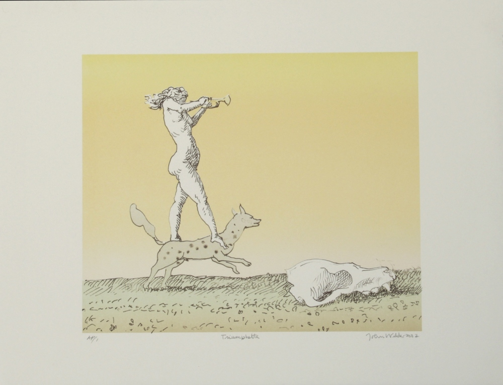 "TRIUMPHETTE, 2002, Color Lithograph on Paper, 14 x 19"", AP 1"
