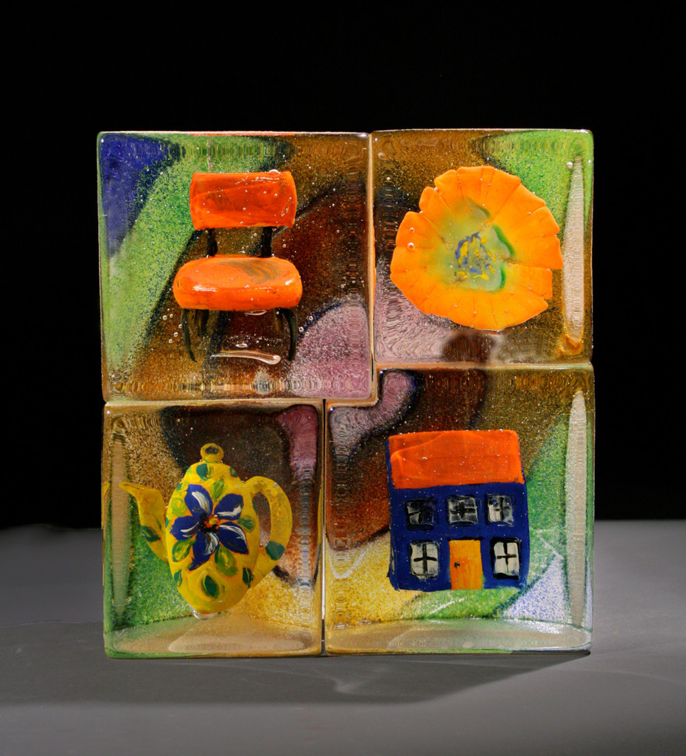 Stephanie Trenchard, MATERIAL CULTURE SQUARE, Sand cast glass with inclusions, 10.25 x 9.5 x 3.5""