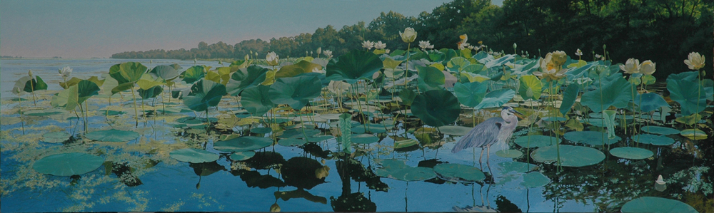 "James Winn, SPRING LAKE NO. 7, Acrylic on Panel, image 29 x 96"" framed 31 x 98"""