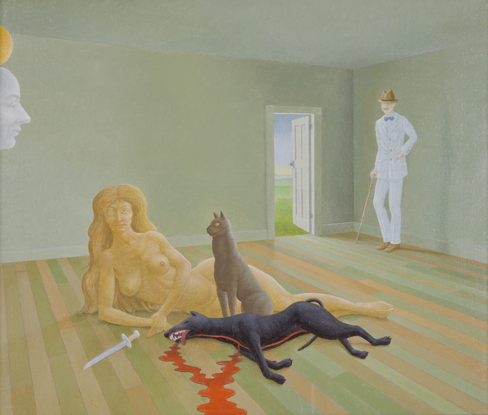 A CAT, A DAGGER, AND AN OPEN DOOR, 1992, Oil on Canvas, 10 x 12""