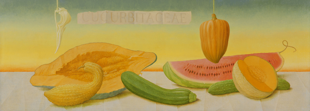 "CUCURBITACEAE, 1999, Oil on Canvas Mounted on Panel, 14 x 38"""