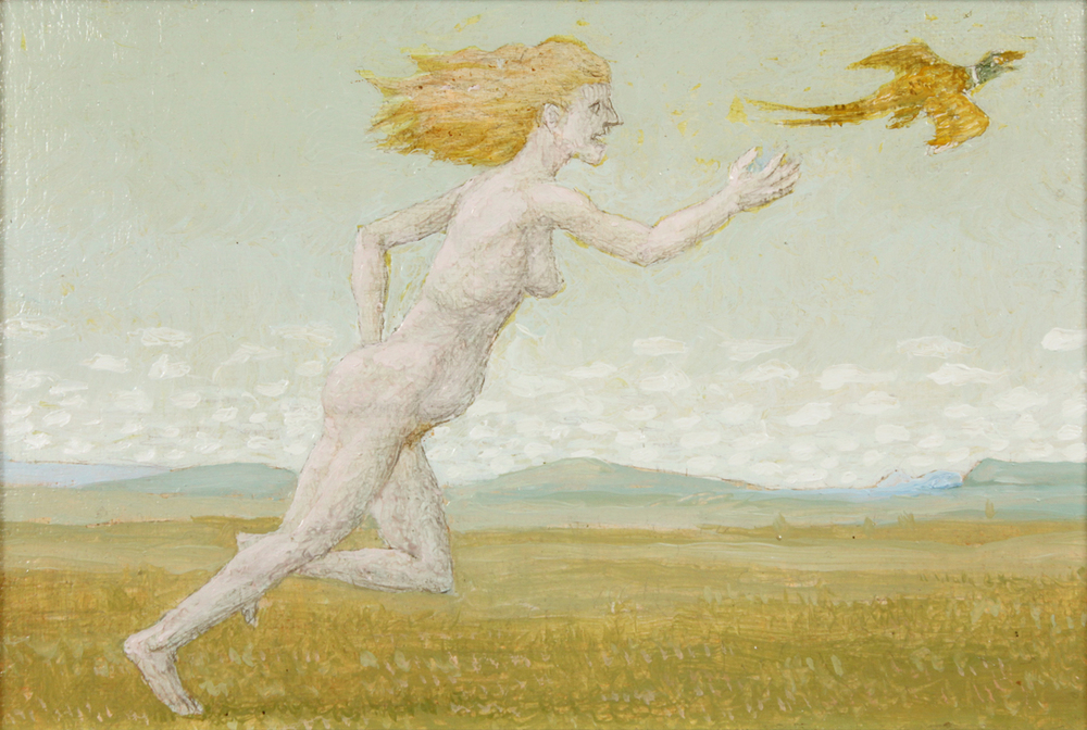 """NUDE CHASING A PHEASANT - STUDY FOR EVENTIDE AT THE DUCHESS, 2005, Oil on Canvas no Panel, 5 x 7 1/2"""""""