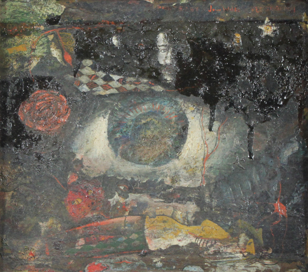 UNTITLED COLLAGE, 1981, Oil with Collage on Copper, 8 x 9 1/4""