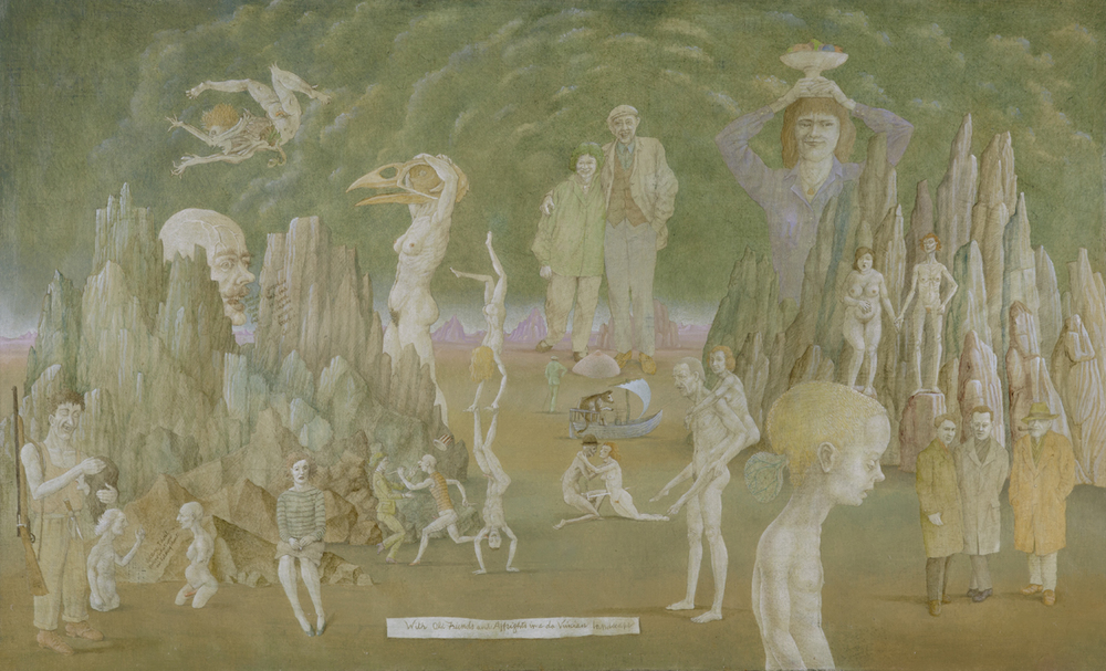 """WITH OLD FRIENDS AND AFFRIGHTS IN A DAVINCIAN LANDSCAPE, 2004, Oil on Canvas on Panel, 24 1/2 x 40"""""""