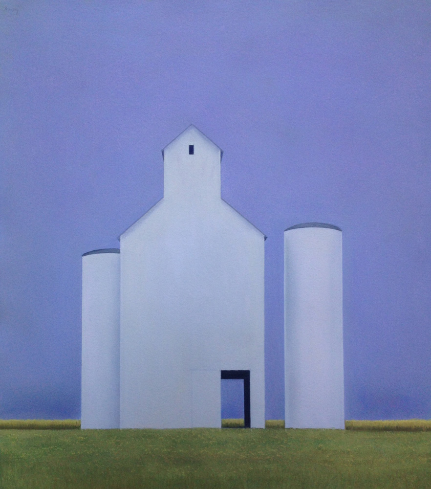 Clare Malloy, GRAIN ELEVATOR, pastel on rag paper, image 26 x 23 inches