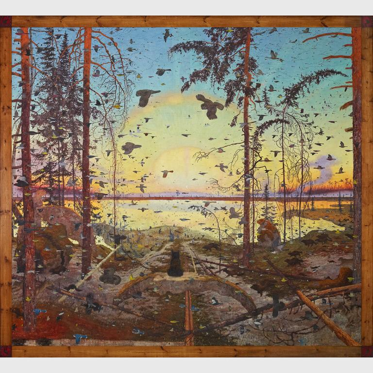 Tom Uttech, Enassamishhinjijweian, 2009, Oil on Linen, 103 x 112 inches, From the Collection of the Crystal Bridges Museum of American Art