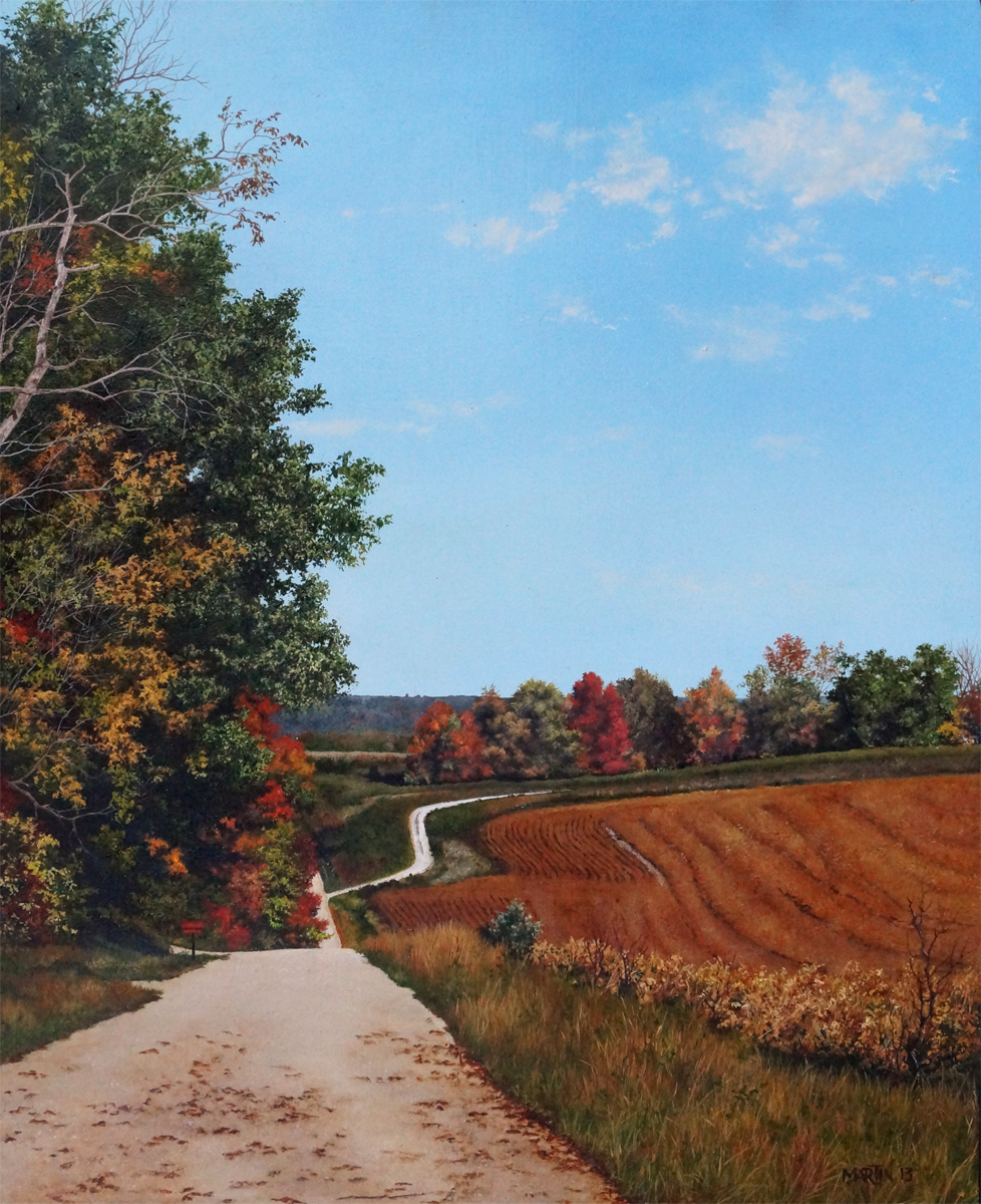 Cathy Martin, COUNTRY ROADS, Oil on panel, 17x14""