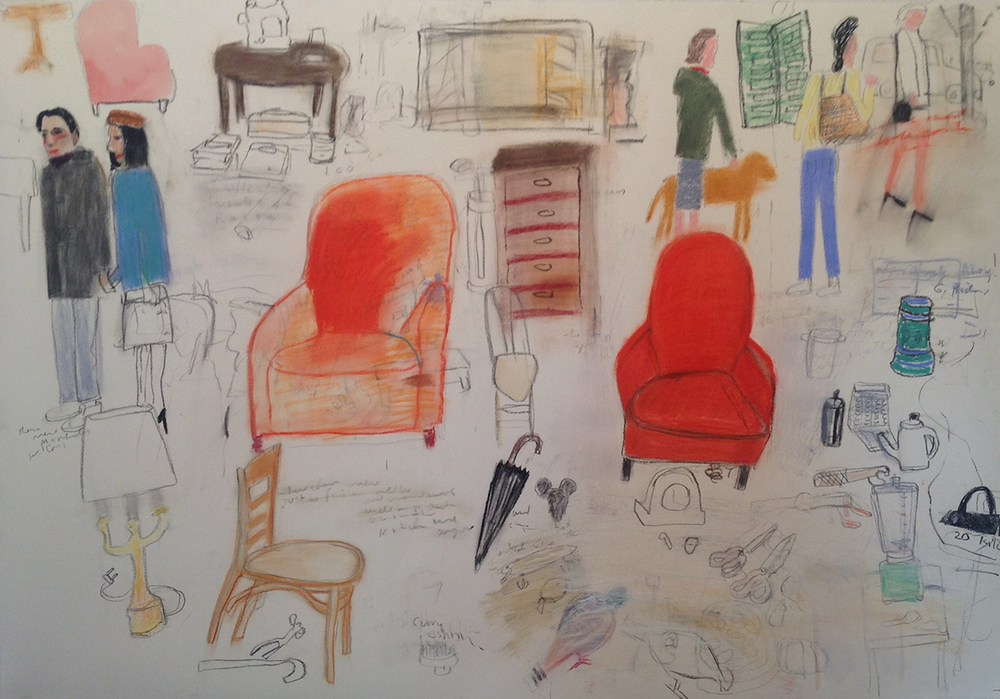Mark Mulhern, BROCANTE, Charcoal and Pastel on Paper, 42x60""