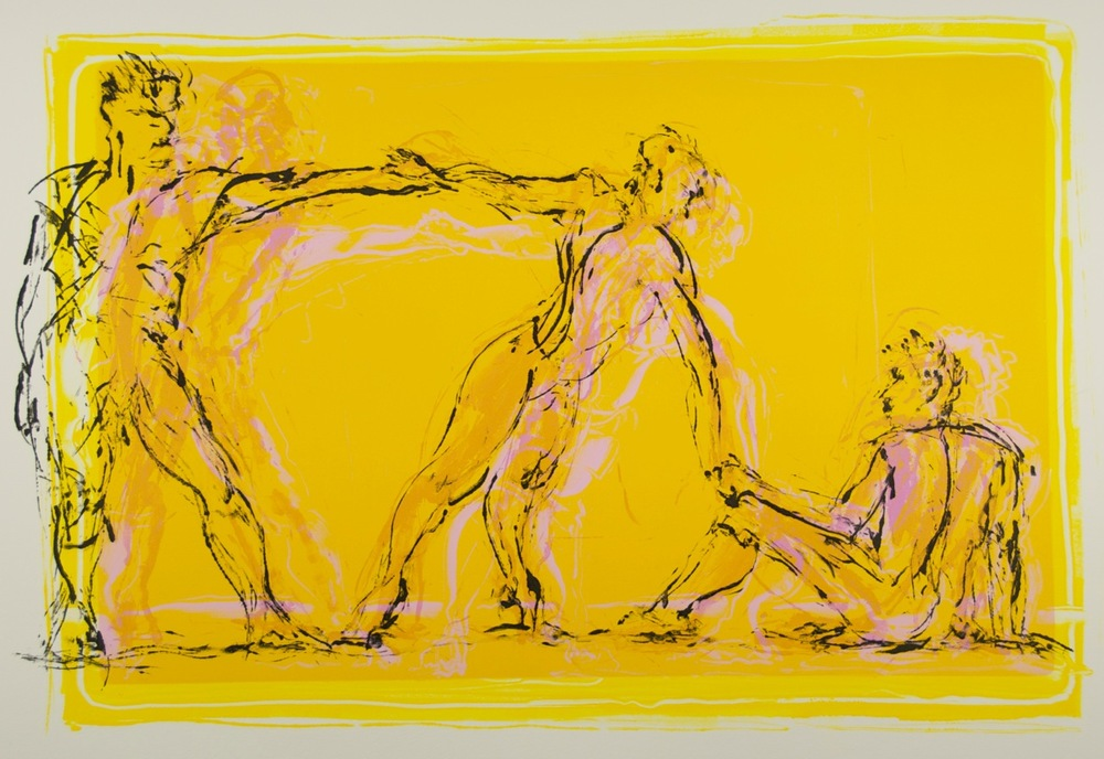 Jan Serr, SUMMER DANCERS II, monotype on paper, 22 x 29 inches