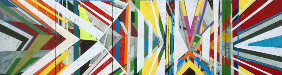 Jason Rohlf, Navigate, 24x90 inches, acrylic and collage on panel