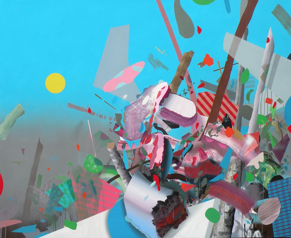 "CAKE FLIGHT, 2013. Acrylic and Spray Paint on Canvas, 60 x 72"""