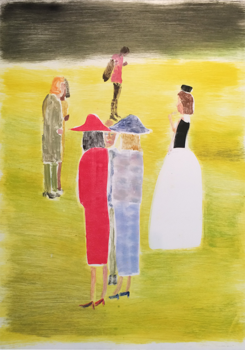 UNTITLED (WEDDING RECEPTION - WOMAN IN RED DRESS AND HAT), Monotype, 41 1/2 x 29""
