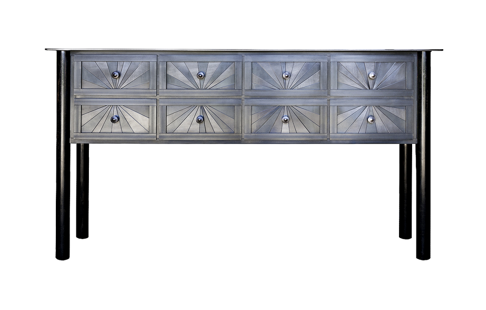 TEN DRAWER STARBURST COUNTER, Hot Rolled and Found Painted Steel, 36 x 66 x 16 1/2""