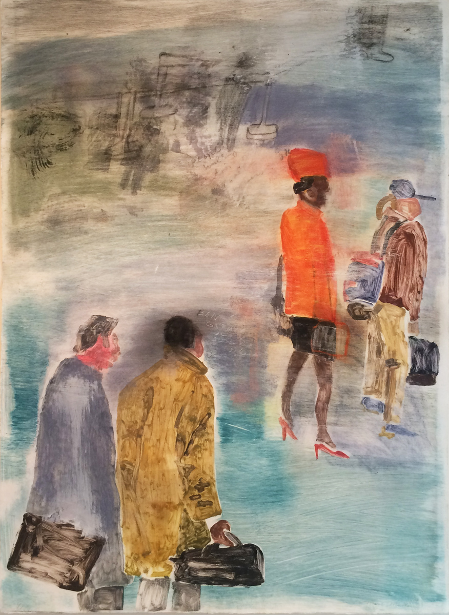 UNTITLED (WOMAN WITH ORANGE HAT), Monotype, 41 1/2 x 29""