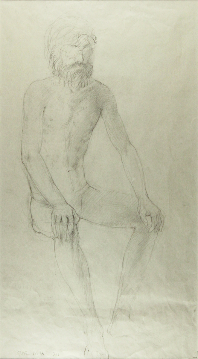 SEATED FIGURE, 1966, Conte Crayon on Gray Paper, 14 x 21 1/2""