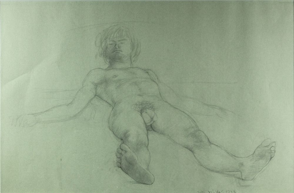 MALE RECLINING NUDE - LIFE DRAWING, 1967-1975, Graphite, 14 x 21 1/2""
