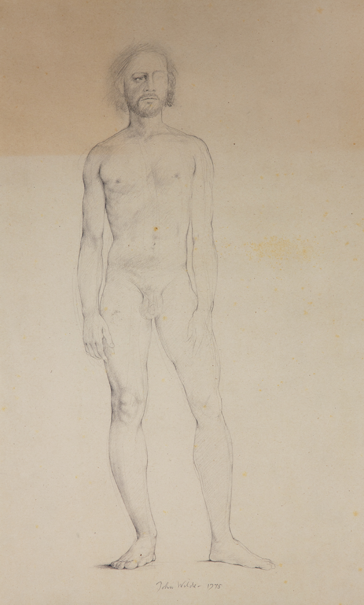 MALE STANDING NUDE -LIFE DRAWING, 1967-1975, Graphite, 14 x 21 1/2""