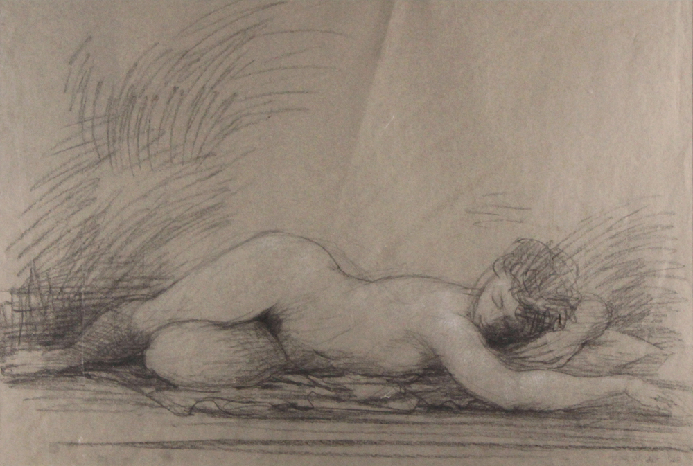 FEMALE NUDE, PRONE, 1968, Charcoal Heightened with White Chalk on Gray Paper, 16 x 24""