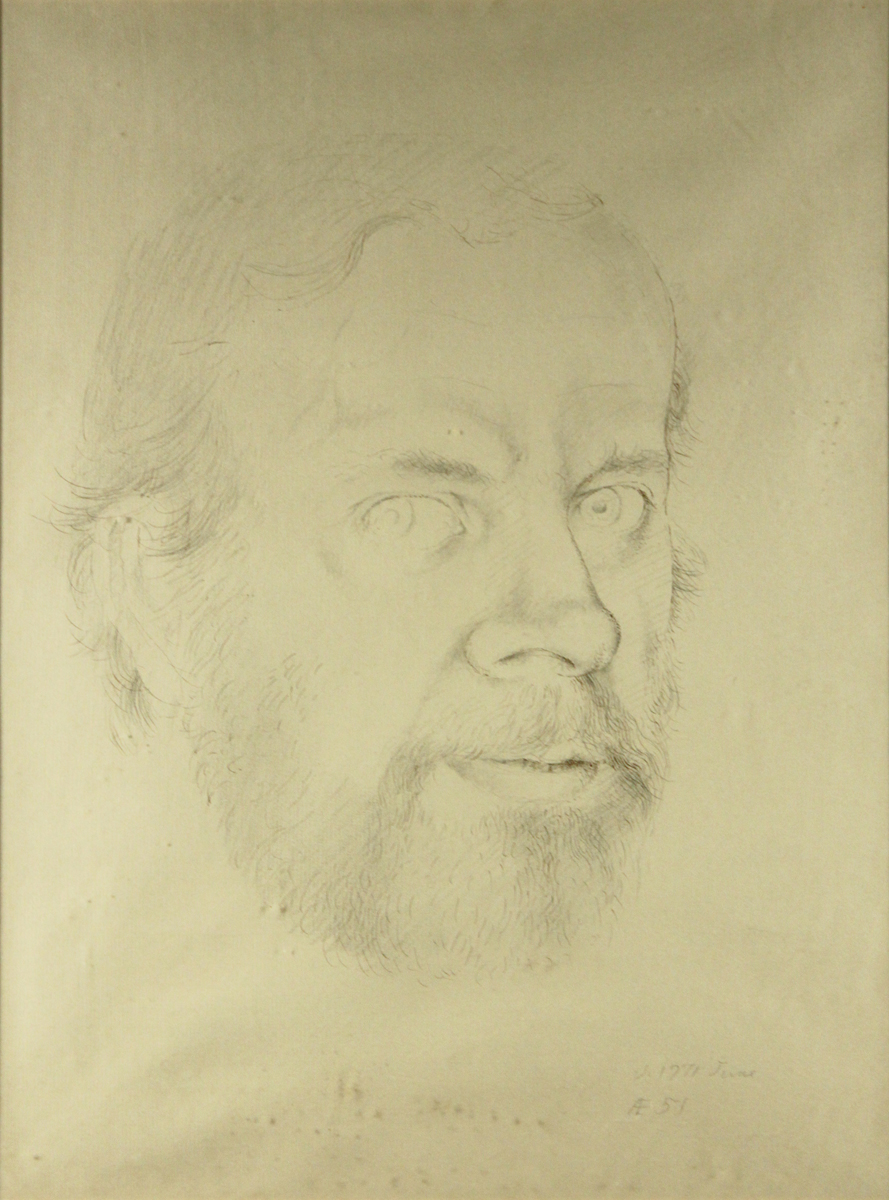 MYSELF, AGE 51, 1971, Pencil with Pen and Brown Ink, 16 x 12 1/4""