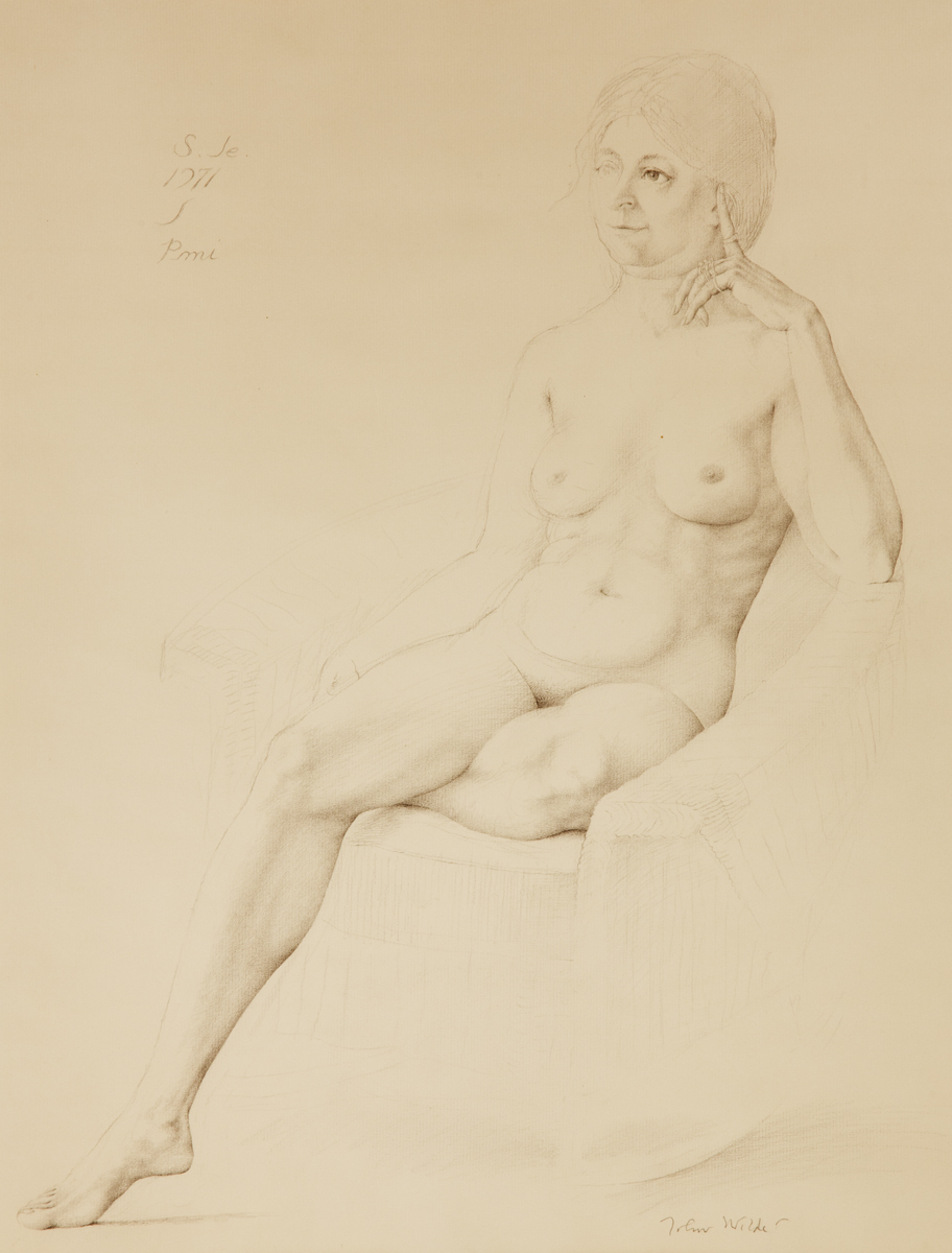 """PORTRAIT OF  S. G. W. SEATED NUDE, 1971, Graphite and Chalk, 20 x 15 1/2"""""""