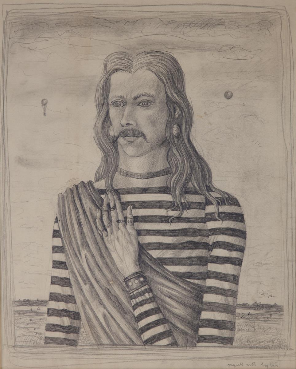 "MYSELF, AGE 19 WTH LONG HAIR, 1939, Graphite, 18 x 14 3/4"""