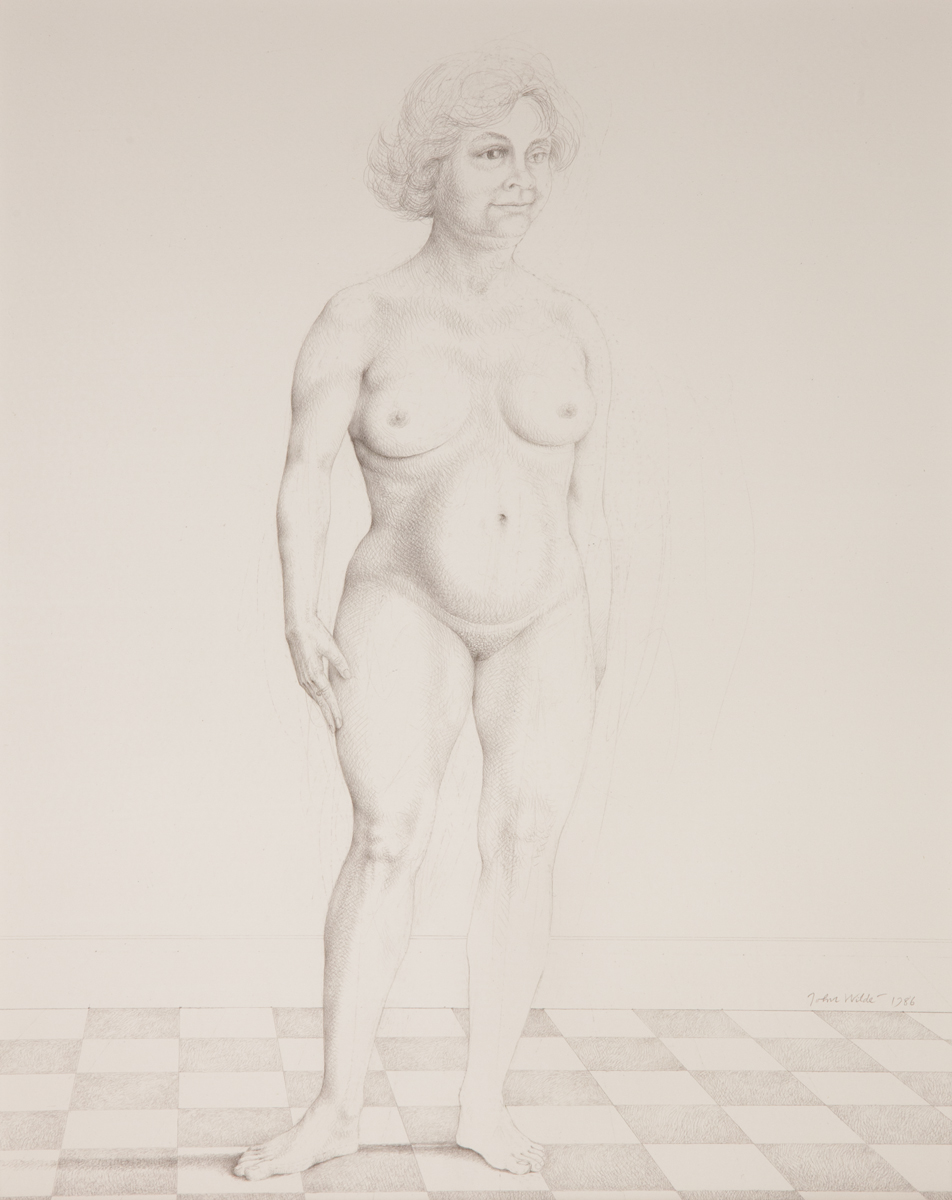 FEMALE NUDE STANDING ON A BLACK AND WHITE SQUARE TILE FLOOR, 1986, Silverpoint, 15 x 12 1/4""