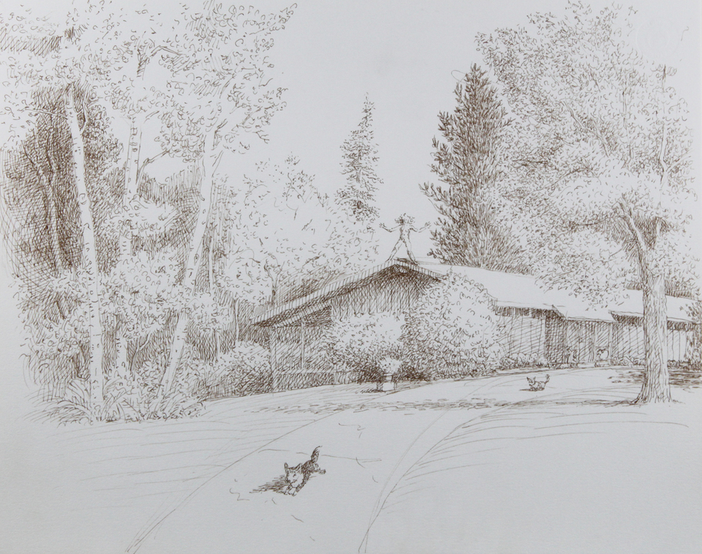 MY PLACE SERIES, #6 LOOKING DOWN TOWARD OUR HOUSE, 1999, Walnut Ink on Paper, 11 1/2 x 14 3/4""