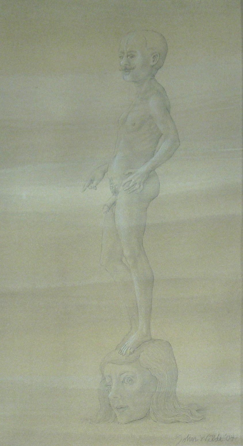 STUDY FOR E AT D'S #10 MALE NUDE STANDING ON A LARGE HEAD OF A WOMAN, 2004, Pencil on Toned Paper Heightened with White Chalk, 12 x 7""